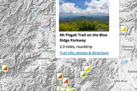 Asheville Trails Map Search: find western North Carolina's best hiking trails on an interactive map