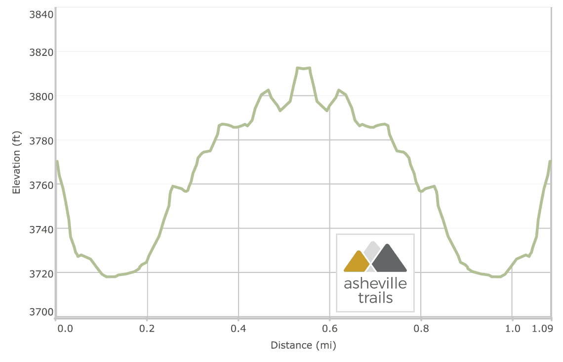 Big Laurel Falls Trail near Franklin, NC: Elevation Profile