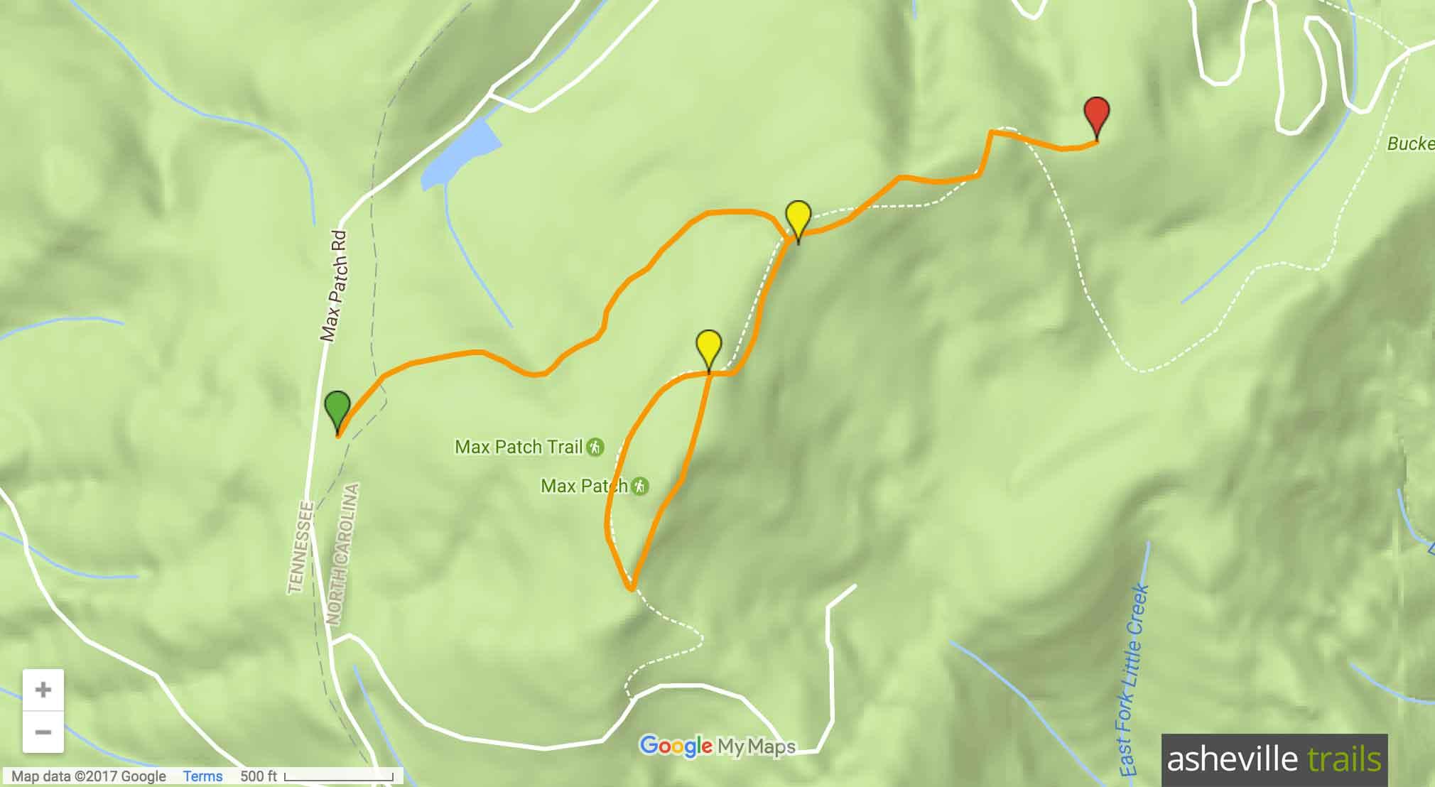 Appalachian Trail at Max Patch Map