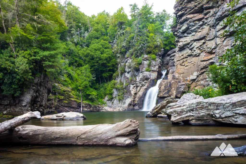 Hike the Plunge Basin Trail to up-close views of Linville Falls, trekking to the base of the falls on the gorge floor