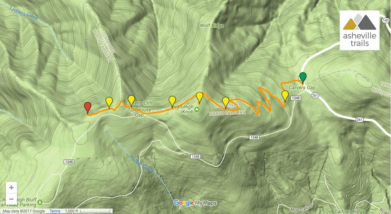 Roan High : Appalachian Trail from Carvers Gap Gap Trail Map on gap dayton map, gap bike path map, oklahoma atv trails map, fulda gap map, delaware water gap map,