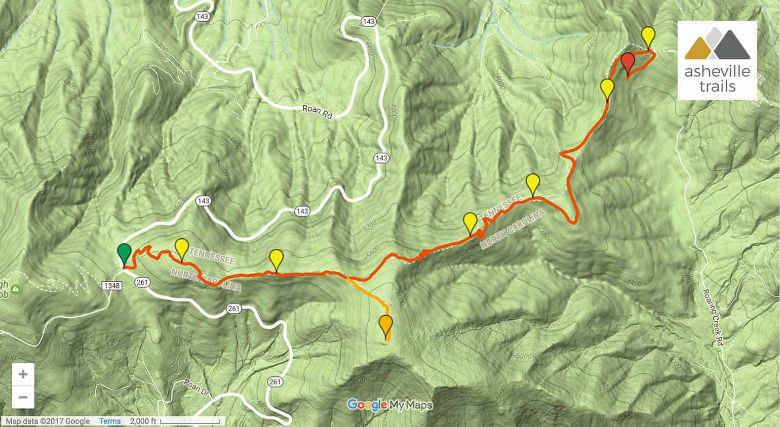Appalachian Trail Roan Highlands To The Overmountain Shelter - Appalachian trail topo map