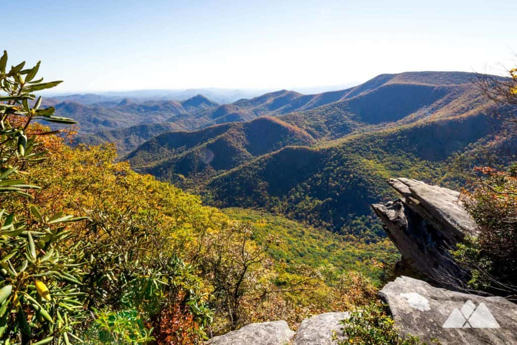 Hike the Pickens Nose Trail to catch beautiful long-range views of fall leaf color in western NC