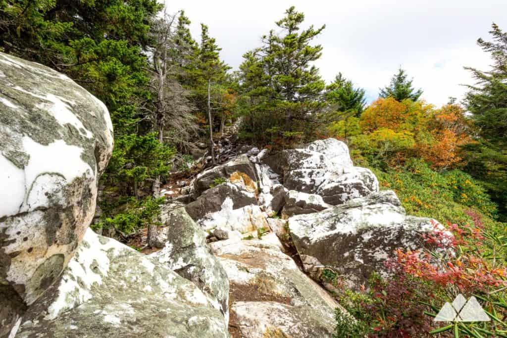 Hike the Art Loeb Trail in western North Carolina in autumn to the brilliant white, quartz-crusted Shining Rock Mountain summit