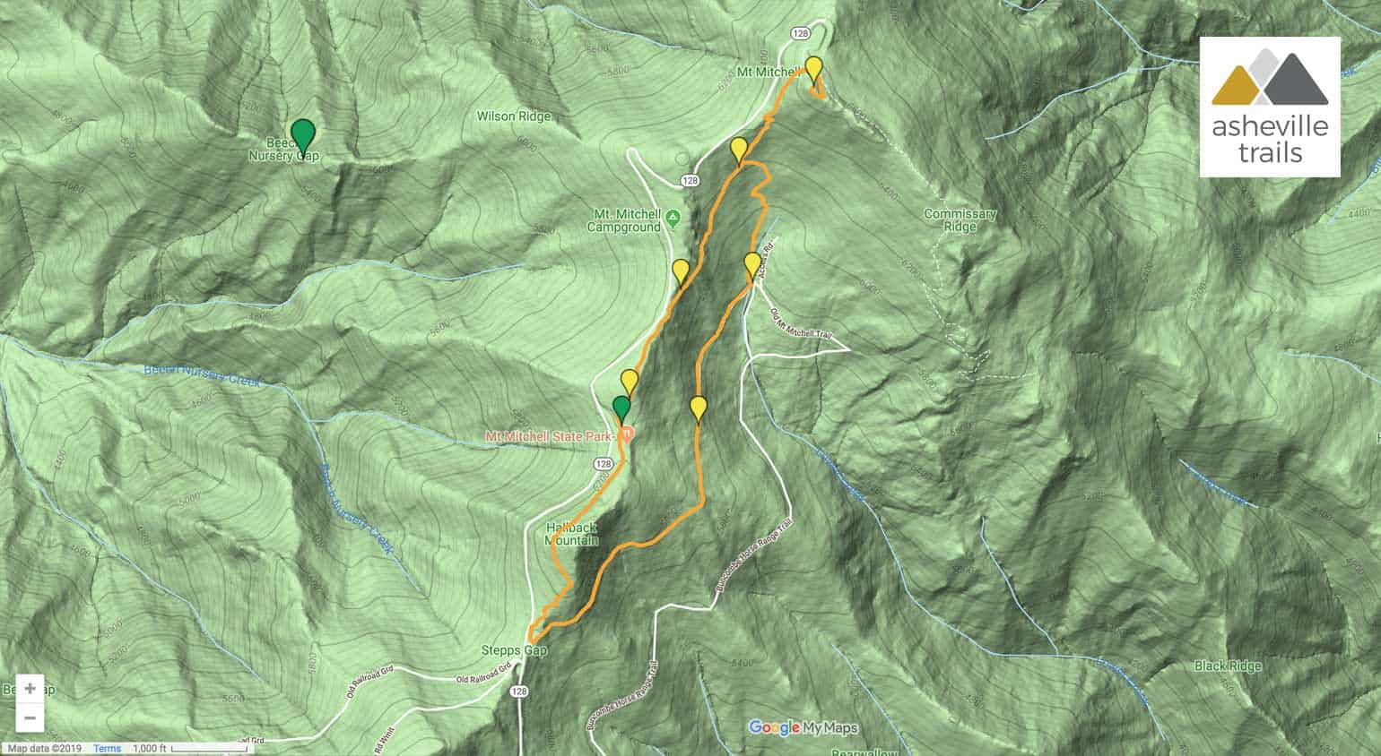 Old Mitchell Trail and Mt Mitchell High Loop Trail Map