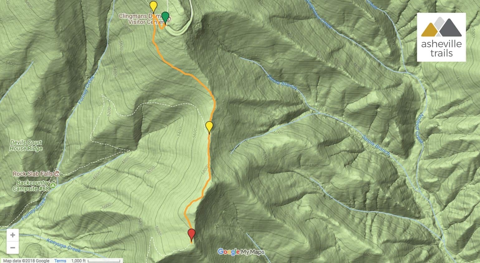 Andrews Bald from Clingman's Dome: Forney Ridge Trail Map