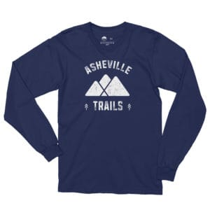 Asheville Trails Mountains Long Sleeve Shirt, Navy