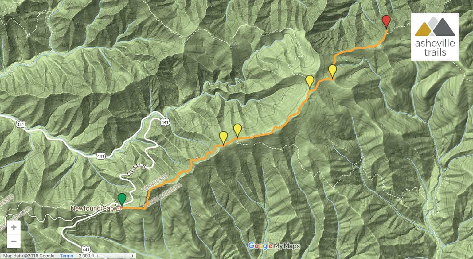 Charlies Bunion Appalachian Trail Map